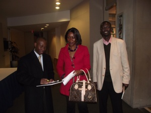 From L to R:Tien of DIWDC, Dr Emma Osong of Catholic University of America, Balemesa of the Peace Corps